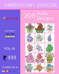 Vol-10, 200 Embroidery Butta Designs for Singer Machine, Instant Download
