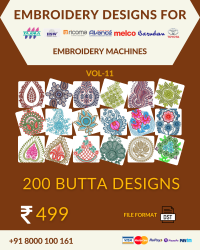 Vol-11, 200 Embroidery Butta Designs for Multi Needle Machines, Instant Download