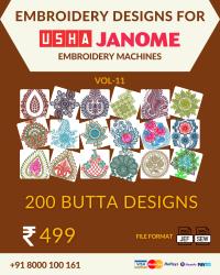 Vol-11, 200 Embroidery Butta Designs for Usha Janome Machine, Instant Download