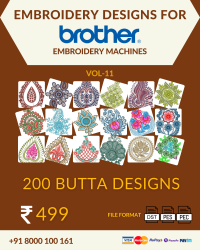 Vol-11, 200 Embroidery Butta Designs for Brother Machine, Instant Download