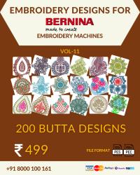 Vol-11, 200 Embroidery Butta Designs for Bernina Machine, Instant Download