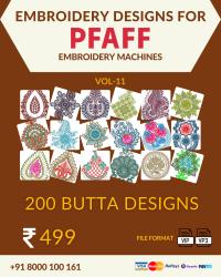 Vol-11, 200 Embroidery Butta Designs for Pfaff Machine, Instant Download