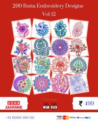 Vol-12, 200 Embroidery Butta Designs for Usha Janome Machine, Instant Download