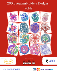 Vol-12, 200 Embroidery Butta Designs for Babylock Machine, Instant Download