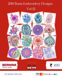 Vol-12, 200 Embroidery Butta Designs for Bernina Machine, Instant Download