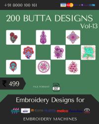 Vol-13, 200 Embroidery Butta Designs for Multi Needle Machines, Instant Download