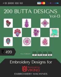 Vol-13, 200 Embroidery Butta Designs for Husqvarna Viking Machine, Instant Download