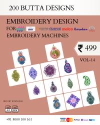 Vol-14, 200 Embroidery Butta Designs for Multi Needle Machines, Instant Download