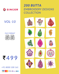 Vol-15, 200 Embroidery Butta Designs for Singer Machine, Instant Download