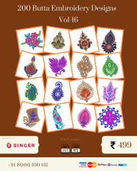 Vol-16, 200 Embroidery Butta Designs for Singer Machine, Instant Download