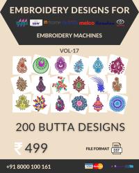 Vol-17, 200 Embroidery Butta Designs for Multi Needle Machines, Instant Download