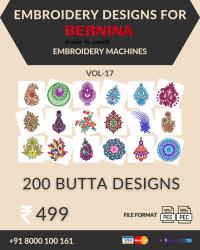 Vol-17, 200 Embroidery Butta Designs for Bernina Machine, Instant Download