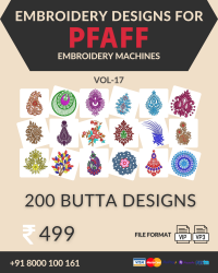 Vol-17, 200 Embroidery Butta Designs for Pfaff Machine, Instant Download