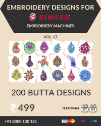 Vol-17, 200 Embroidery Butta Designs for Singer Machine, Instant Download