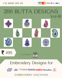 Vol-18, 200 Embroidery Butta Designs for Multi Needle Machines, Instant Download