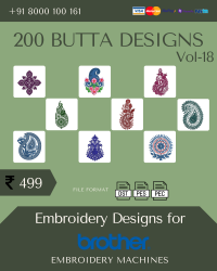 Vol-18, 200 Embroidery Butta Designs for Brother Machine, Instant Download