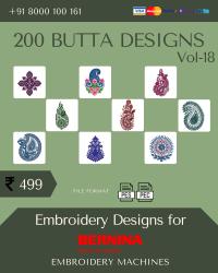 Vol-18, 200 Embroidery Butta Designs for Bernina Machine, Instant Download