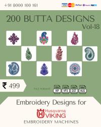 Vol-18, 200 Embroidery Butta Designs for Husqvarna Viking Machine, Instant Download
