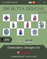 Vol-18, 200 Embroidery Butta Designs for Singer Machine, Instant Download