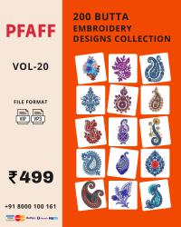 Vol-20, 200 Embroidery Butta Designs for Pfaff Machine, Instant Download