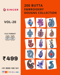 Vol-20, 200 Embroidery Butta Designs for Singer Machine, Instant Download