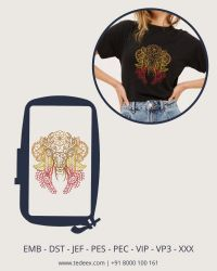 Creative Line work Embroidery Designs for T-shirt & Top, Instant Download
