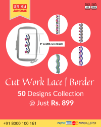 Cut Work Lace & Border Embroidery Designs Pack for Usha-janome Machine