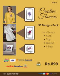 Creative Flowers Embroidery Designs Pack for Multi Needle Single Head Machine