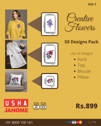 Creative Flowers Embroidery Designs Pack for Usha-janome Machine