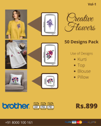 Creative Flowers Embroidery Designs Pack for Brother Machine