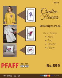 Creative Flowers Embroidery Designs Pack for Pfaff Machine