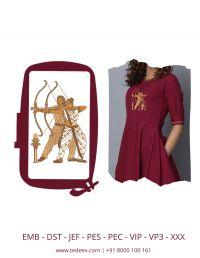 Creative bahubali figure embroidery design