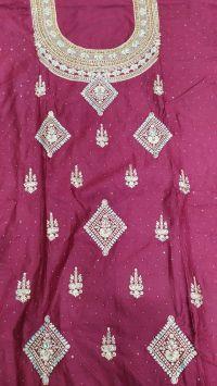 new singal jari suit embroidery design