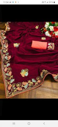 cording sequin c pallu saree embroidery design