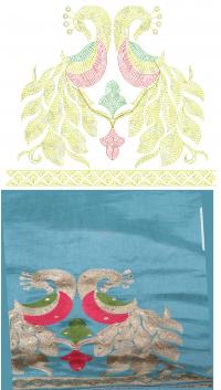 Chain Stitch penal Saree  embroidery design