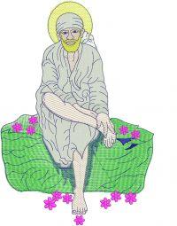 Sai Baba Figure Butta Embroidery Design