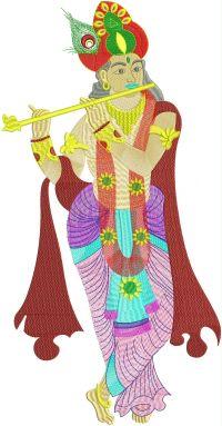 Krishna Figure Butta Embroidery Design