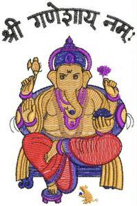 ganapati figure butta embroidery design