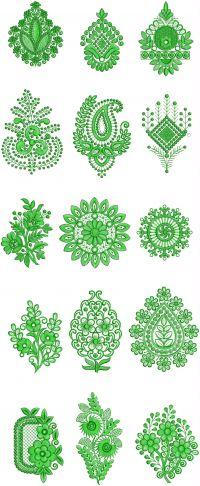 single jaree butta embroidery design