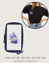 Creative Boat Figure Embroidery Design