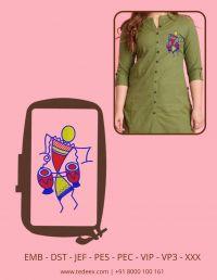 Creative Musician  Figure Embroidery Design
