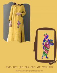 Creative Panihari Figure Embroidery Design