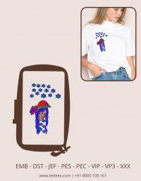 Creative Girl Face Figure Embroidery Design