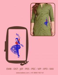 Creative Dancing Women Figure Embroidery Design