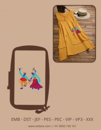 Creative Navratri  Figure Embroidery Design