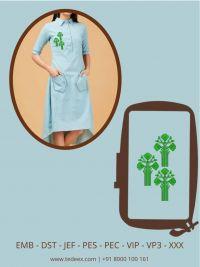 Creative Small Trees Figure Embroidery Design