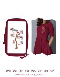 Creative Tree Concept Figure Embroidery Design