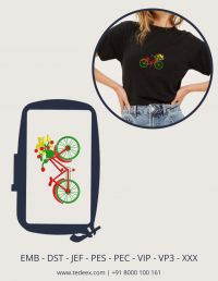 Creative Bicycle  Figure Embroidery Design