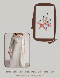 Creative Bird Figure Embroidery Design