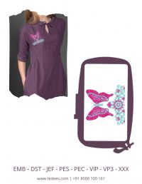 Creative Butterfly Figure Embroidery Design